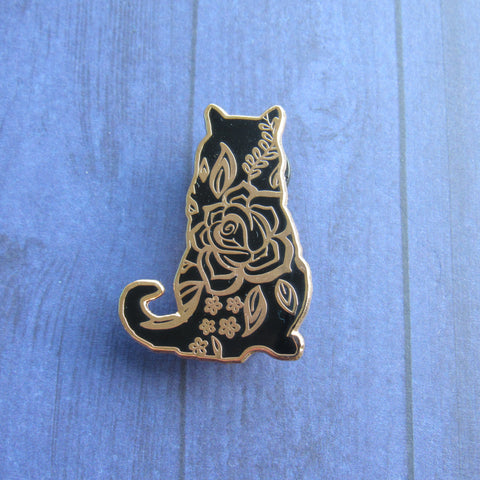 Floral Cat Hard Enamel Pin - Black