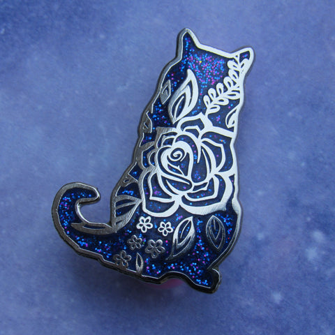 Floral Cat Hard Enamel Pin - Galaxy Glitter