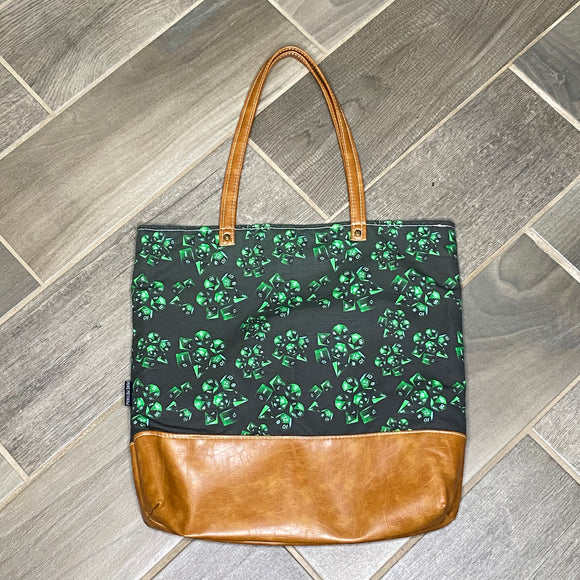Green Dice | Canvas Tote Bag With Vinyl Accent