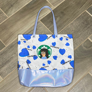 Tina Starbutts | Canvas Tote Bag With Vinyl Accent & Zippered Top
