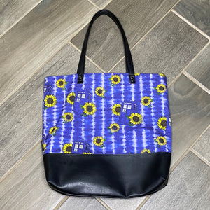 Sunflower TARDIS | Canvas Tote Bag With Vinyl Accent
