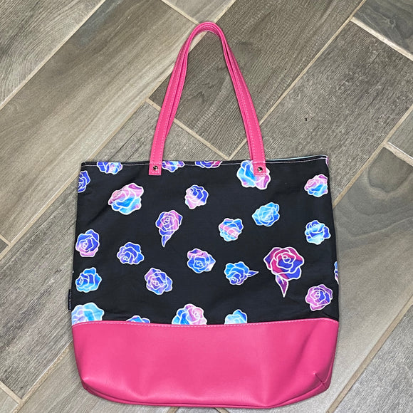 Holographic Flowers | Canvas Tote Bag With Vinyl Accent