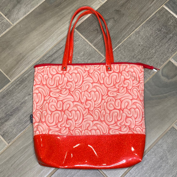 Brains | Canvas Tote Bag With Vinyl Accent & Zippered Top