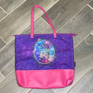 Galaxy TARDIS | Canvas Tote Bag With Vinyl Accent & Zippered Top
