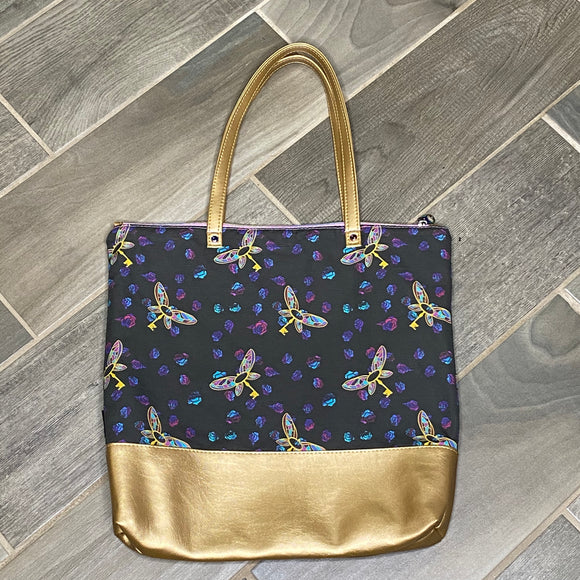 Flying Keys | Canvas Tote Bag With Vinyl Accent & Zippered Top