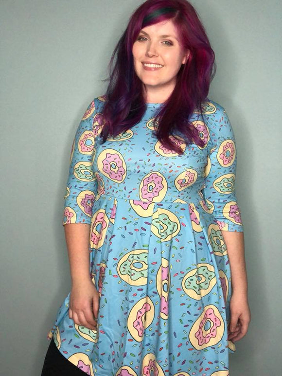 Donuts in Turquoise | 3/4 Length Sleeved Skater Dress