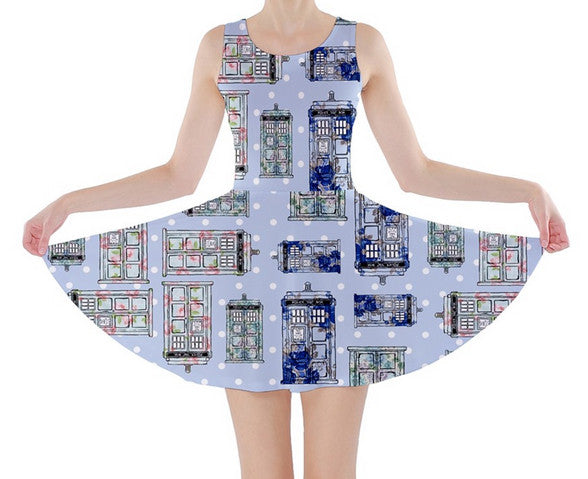 Floral TARDIS Inspired Skater Dress