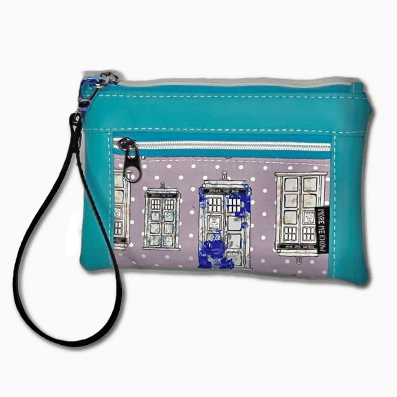 Purple Polka Dot Police Box | Wristlet