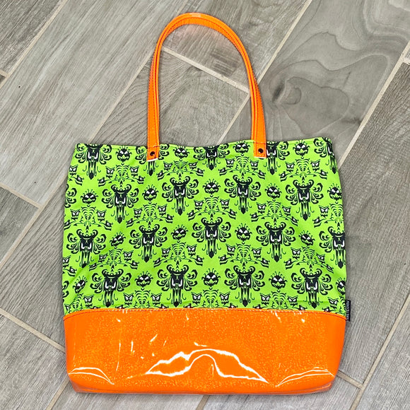 Neon Haunted Mansion | Canvas Tote Bag With Vinyl Accent