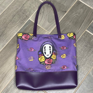 Floral No Face | Canvas Tote Bag With Vinyl Accent