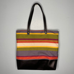 Fourth Doctor Stripes | Canvas Tote Bag With Vinyl Accent