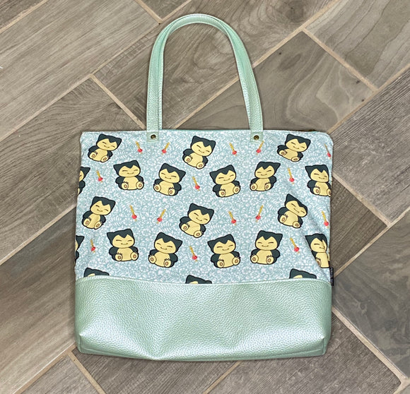 Sleepy Snorlax | Canvas Tote Bag With Vinyl Accent & Zippered Top