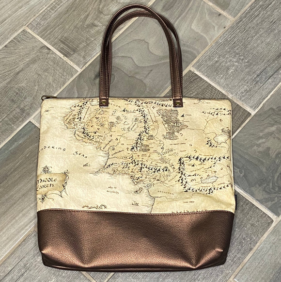 Map of Middle Earth | Canvas Tote Bag With Vinyl Accent & Zippered Top