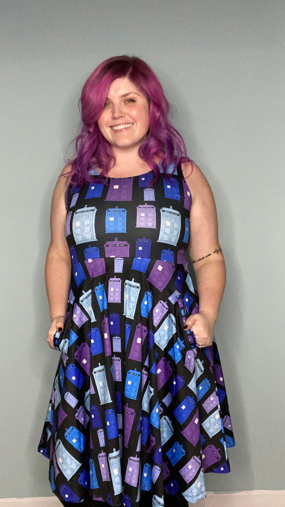 Hand Drawn TARDIS in Blue | The Perfectly Pocketed Dress