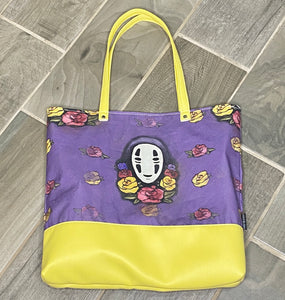 No Face Roses | Canvas Tote Bag With Vinyl Accent