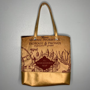 Marauders Map Custom Printed Canvas Tote Bag With Vinyl Accent