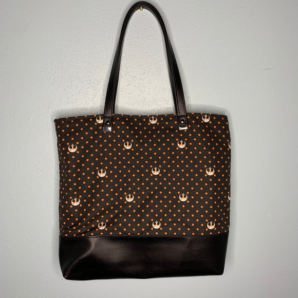 Polka Dotted Rebel in Orange | Canvas Tote Bag With Vinyl Accent