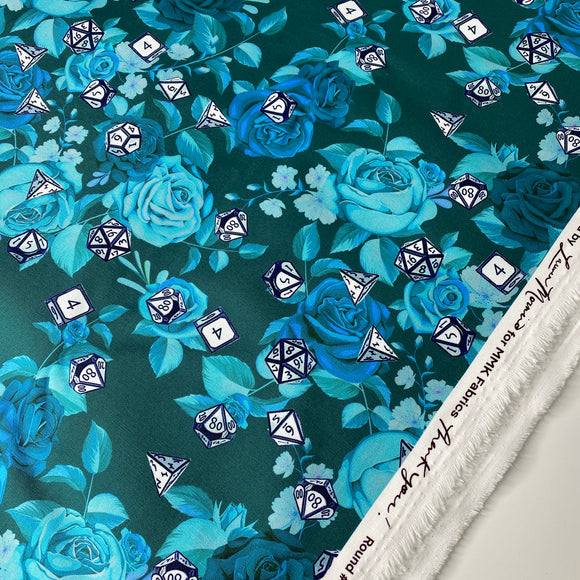 Teal Just Rose With It - 2 Yard Cut