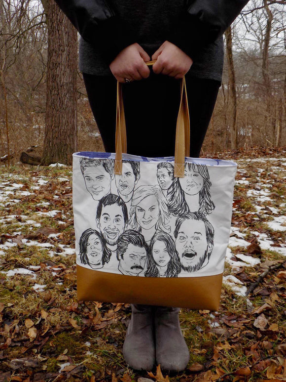 Parks and Rec a Sketch Custom Printed Canvas Tote Bag With Vinyl Accent