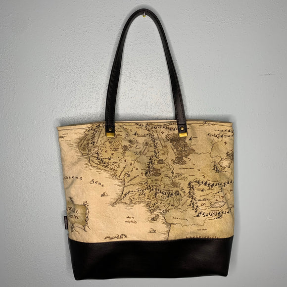 Map of Middle Earth Canvas Tote Bag With Vinyl Accent