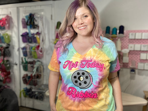 Not Today, Bobbin - Women's Pastel Rainbow TieDye V-neck