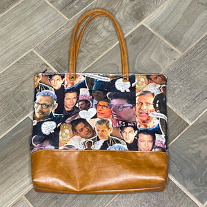 Jeff Goldblum Inspired | Canvas Tote Bag With Vinyl Accent & Zippered Top