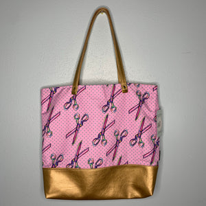 Rainbow Scissors | Canvas Tote Bag With Vinyl Accent