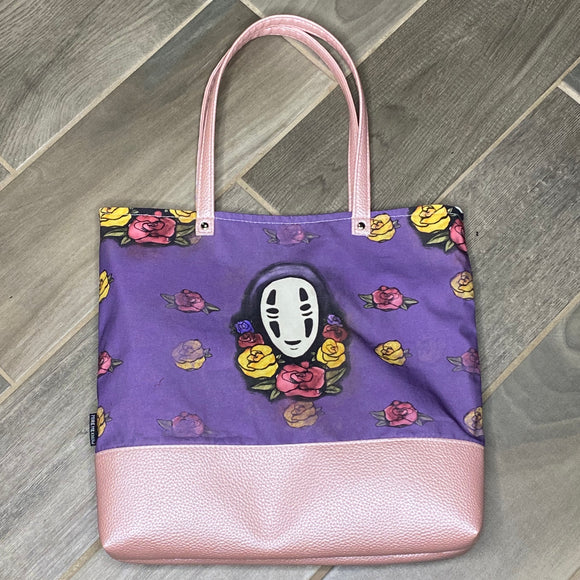 No Face Floral | Canvas Tote Bag With Vinyl Accent
