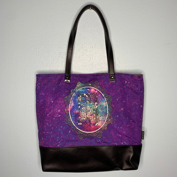 Galaxy TARDIS | Canvas Tote Bag With Vinyl Accent