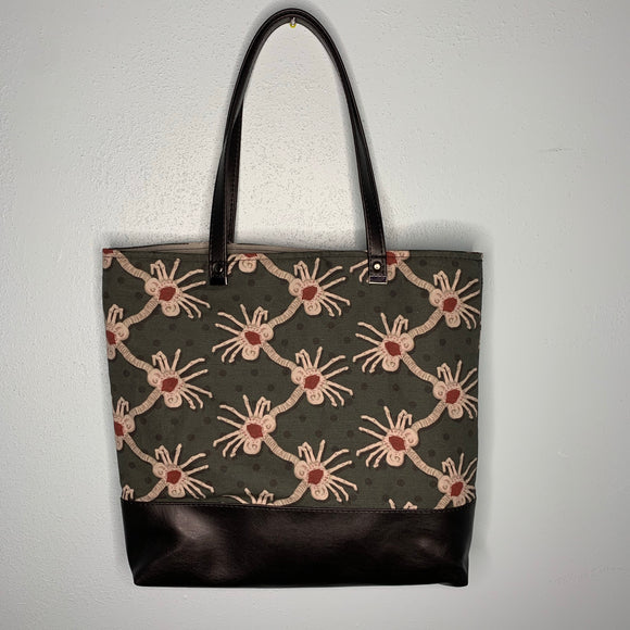 Facehugger | Canvas Tote Bag With Vinyl Accent