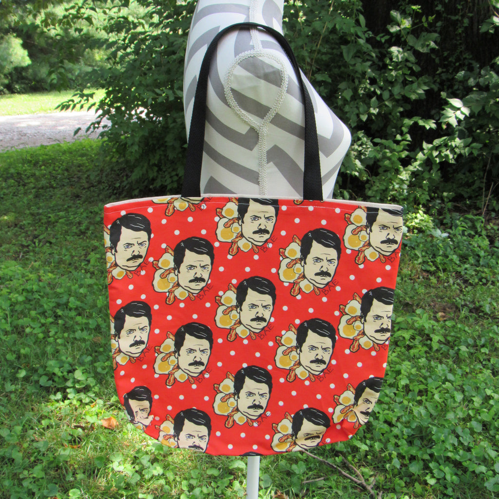 BAE Ron Swanson Inspired Custom Printed Canvas Tote Bag