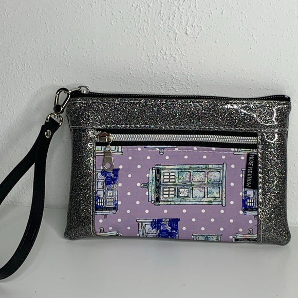 Grape fizz Tardis Silver | Wristlet