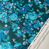 Teal Just Rose With It - 1/2 Yard Cuts