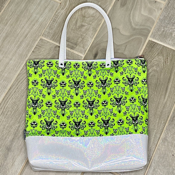 Neon Haunted Mansion | Canvas Tote Bag With Vinyl Accent & Zippered Top