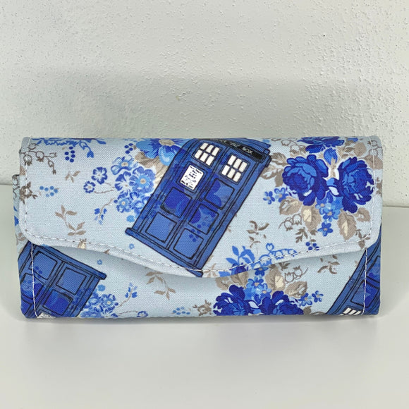 Blue Floral TARDIS | The Necessary Clutch Wallet