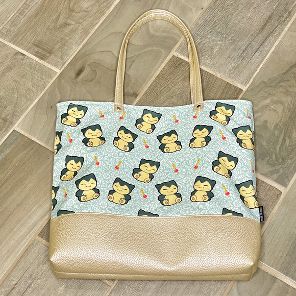Sleepy Snorlax | Canvas Tote Bag With Vinyl Accent