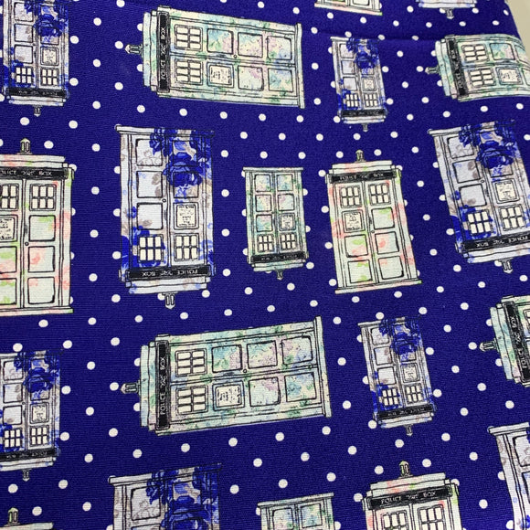 Polka Dot Tardis - 1/2 Yard Cuts