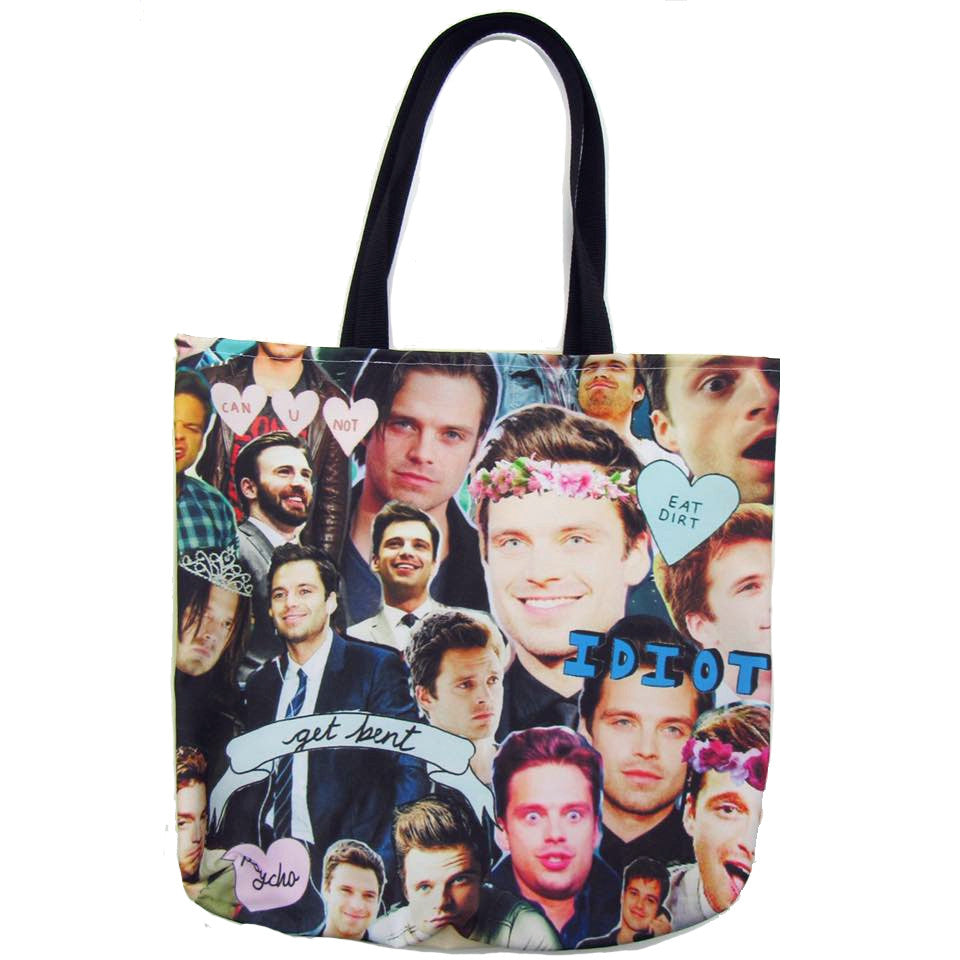Sebastian Stan Custom Printed Canvas Tote Bag