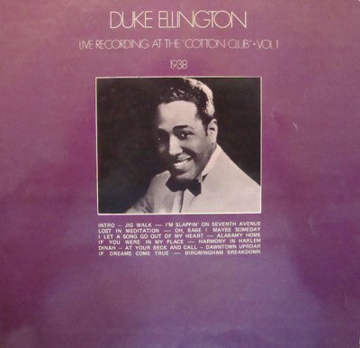 "Duke Ellington ‎– Live Recording At The ""Cotton Club"" Vol.1 Plak"