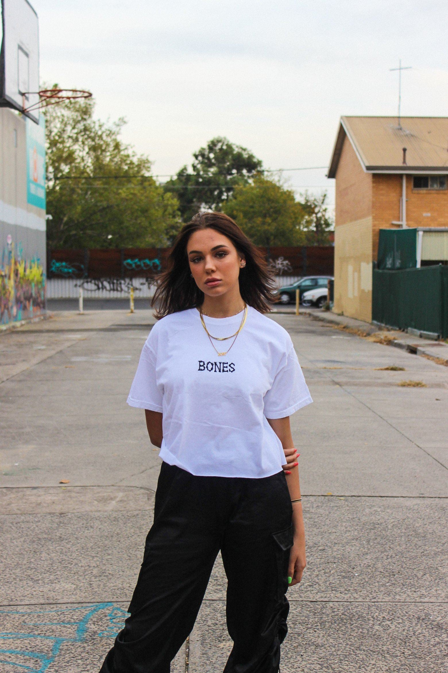 Bones Club Crop - White