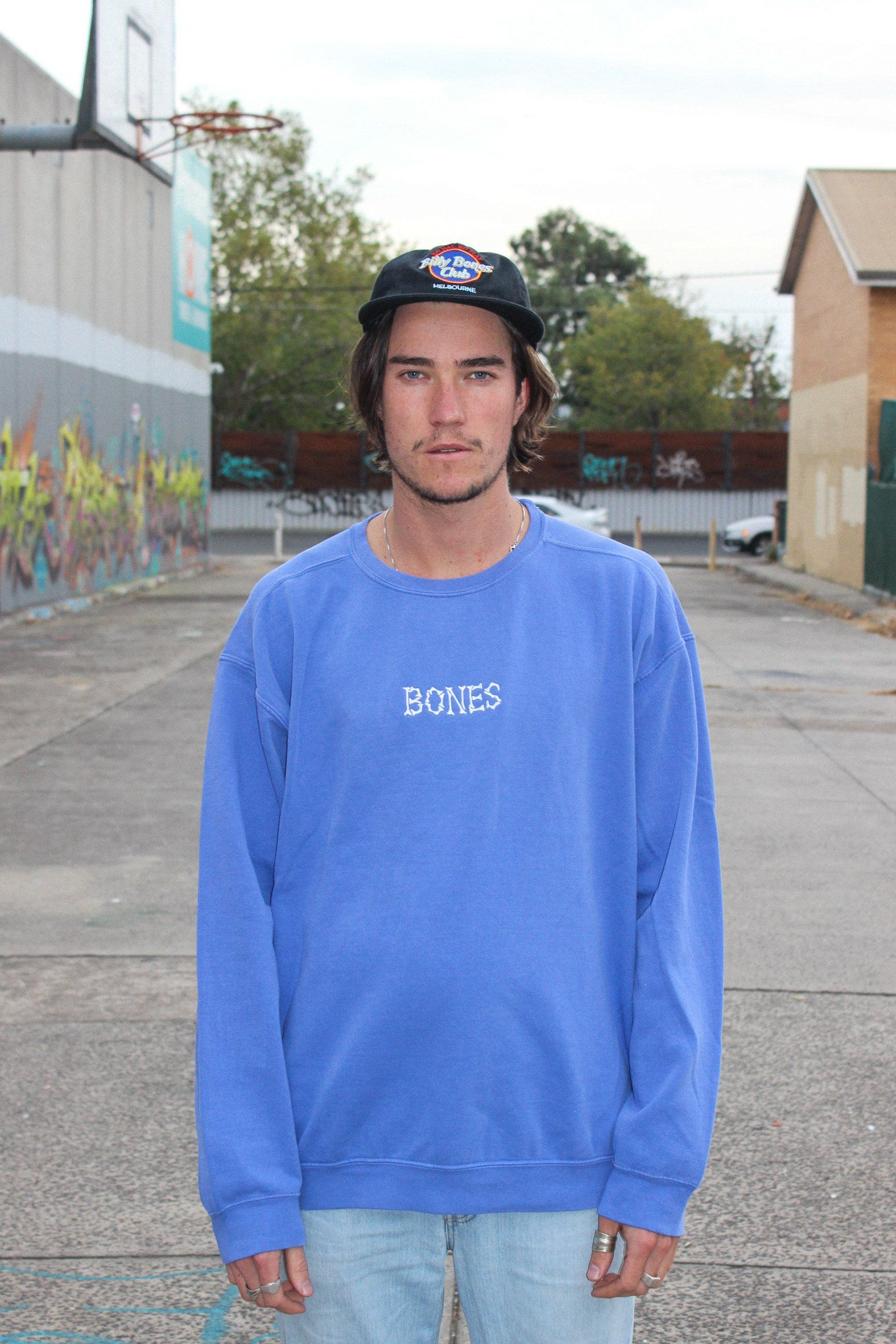 Bones Club Crew Sweater - Cobain Blue