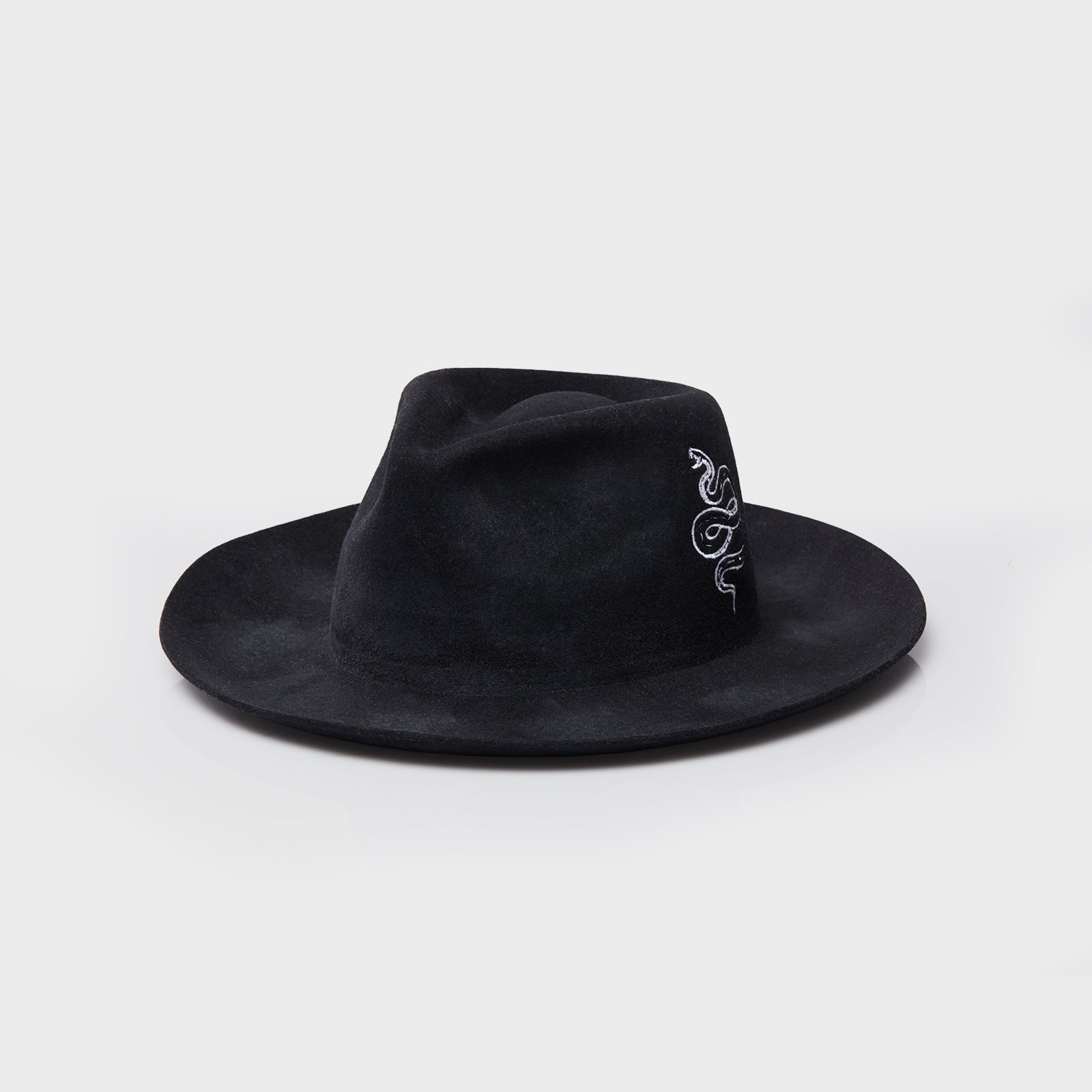 The Snake Fedora - Distressed Black
