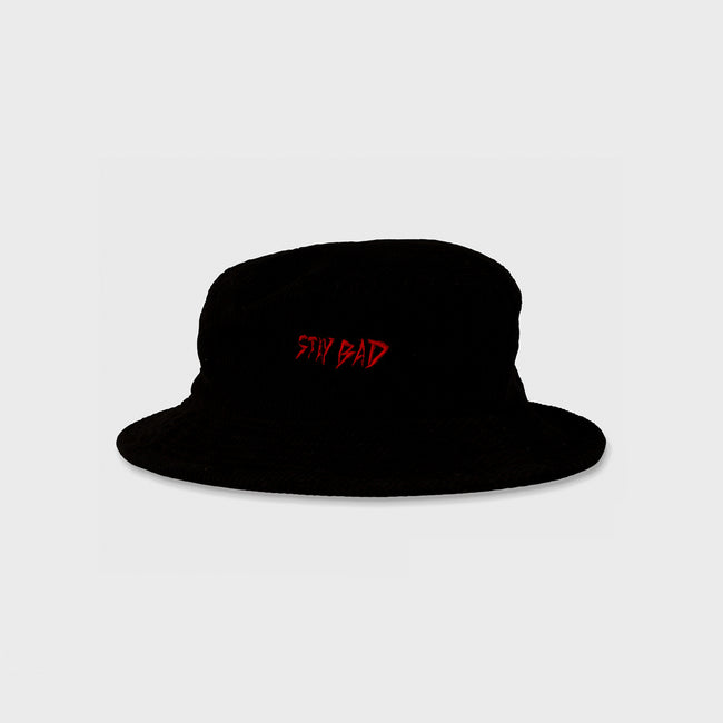 STAY BAD Bucket Hat - Black Corduroy
