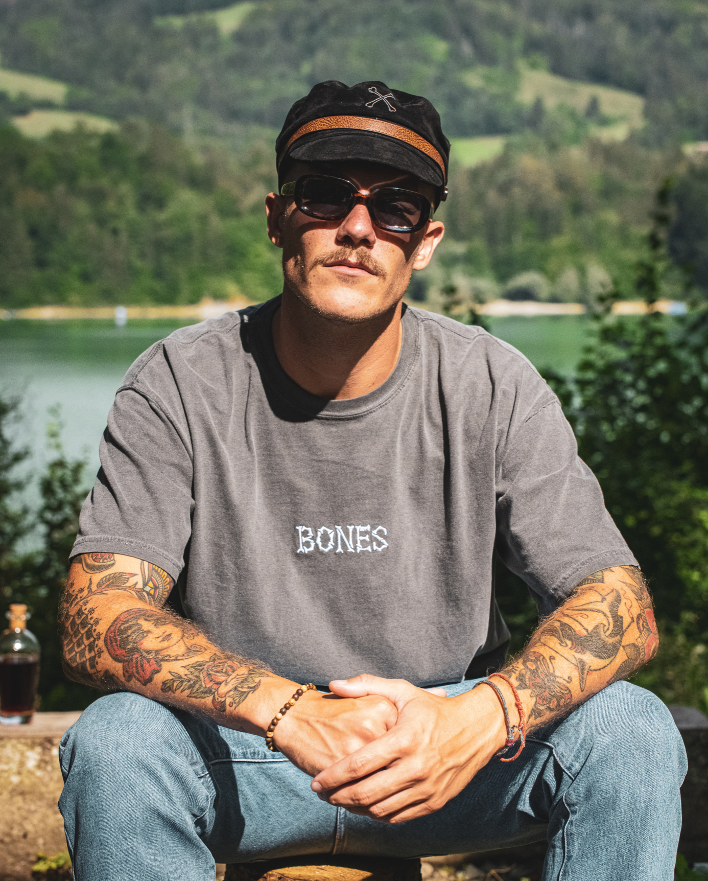Bones Club Tee - Washed Out Black