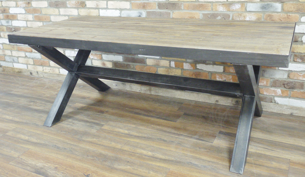 Industrial X Frame Dining Table