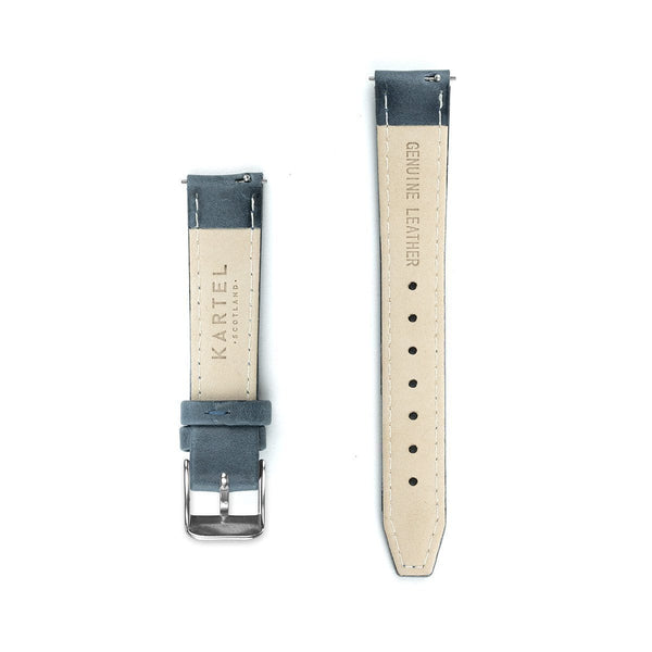 Navy Blue Stitched Leather Watch Strap - 16mm Width Watch Strap - Kartel Scotland