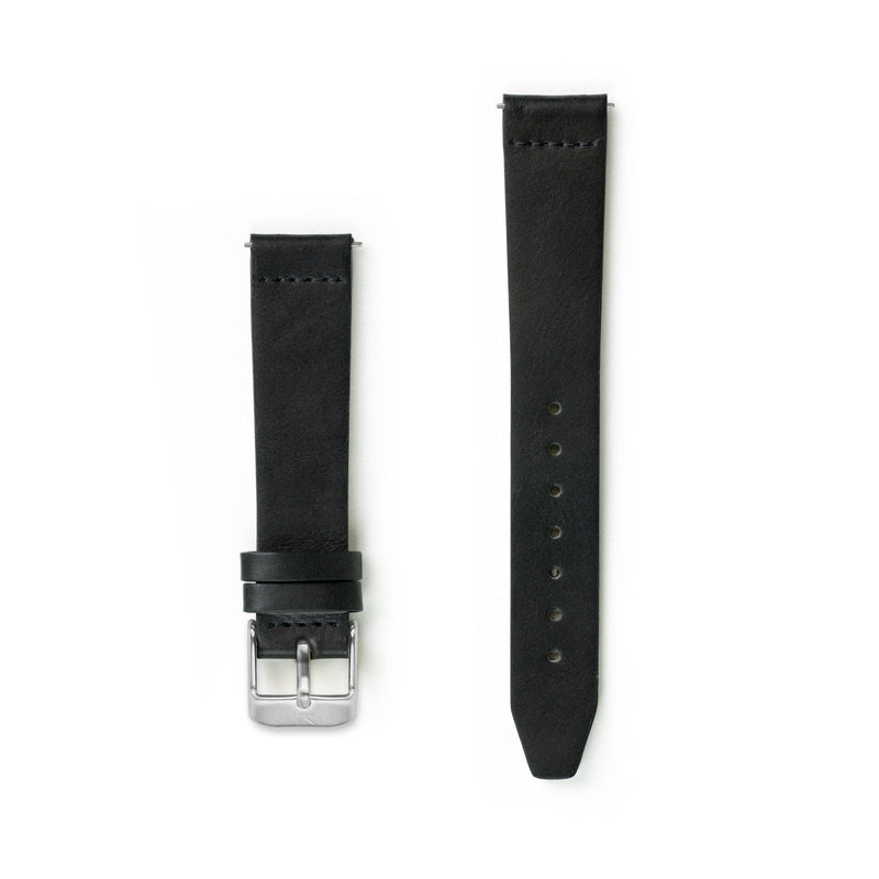 Flat Black Leather Watch Strap - 16mm Width Watch Strap - Kartel Scotland