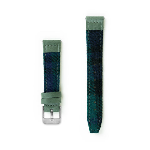 Black Watch Tartan Lambswool Watch Strap - 16mm Width Watch Strap - Kartel Scotland