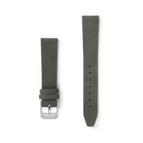 Flat Charcoal Grey Leather Watch Strap - 16mm Width