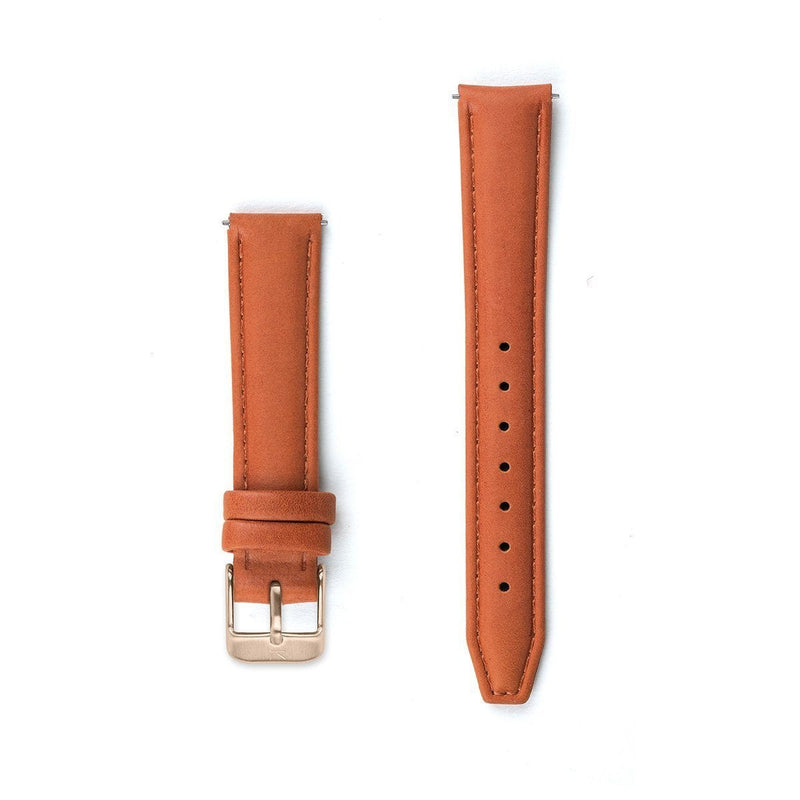 Tangerine Orange Stitched Leather Strap - 16mm Width Watch Strap - Kartel Scotland